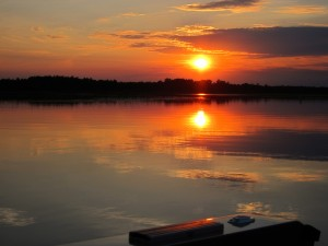 Sunset over Bass Lake at Wildwood Resort